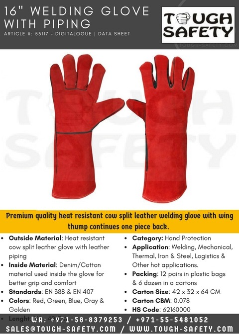 "16"" Red Welding Glove with Leather Piping"