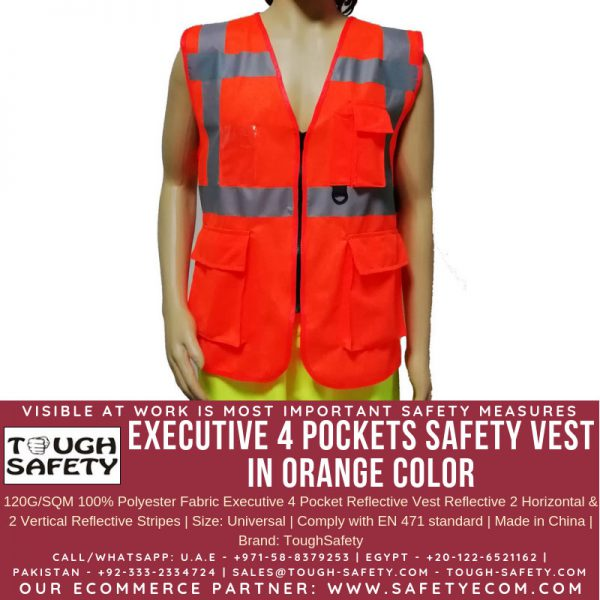 Hi Viz Executive Safety Vest - Orange Color