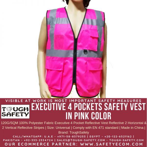 Hi Viz Executive Safety Vest - Pink Color