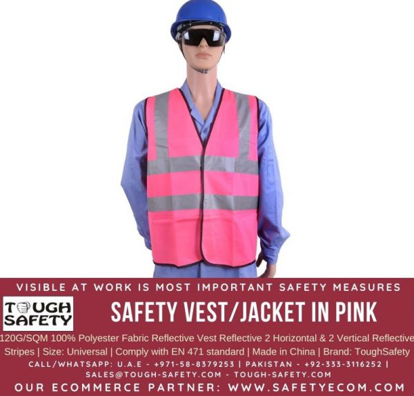 Hi Viz Safety Vest / Jacket in Pink