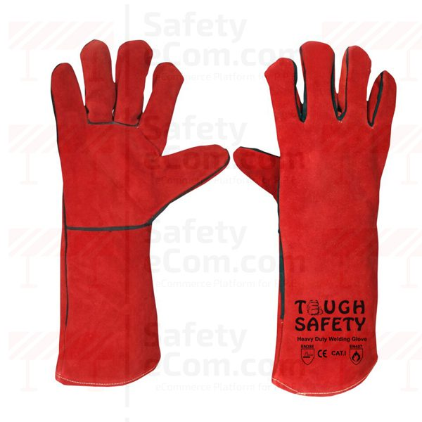 16 Red Welding Glove with Piping