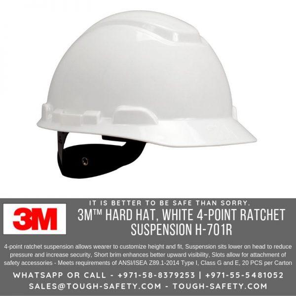 3M 701-R White Safety Helmet